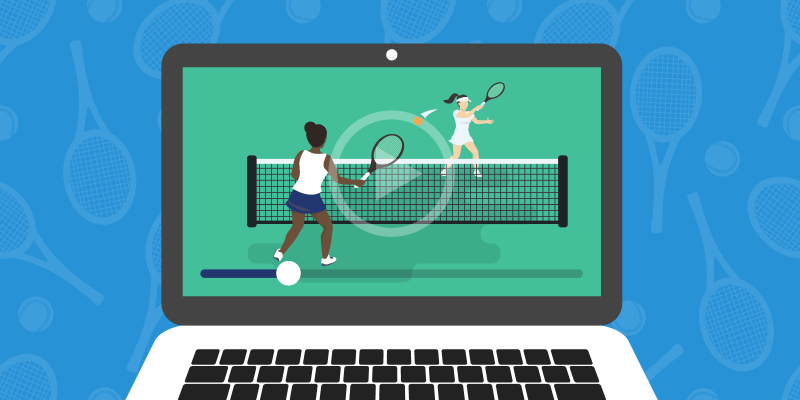 Livestream showing two tennis players playing a match