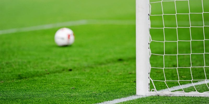 Soccer ball and goalpost on soccer pitch