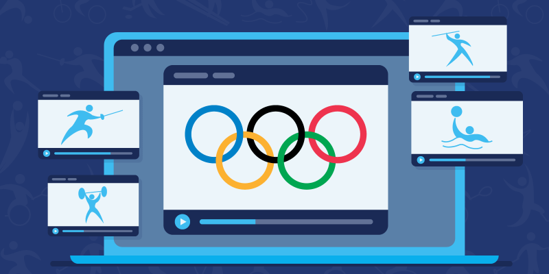 Olympics logo on stream on a laptop surrounded by various olympic sports icons
