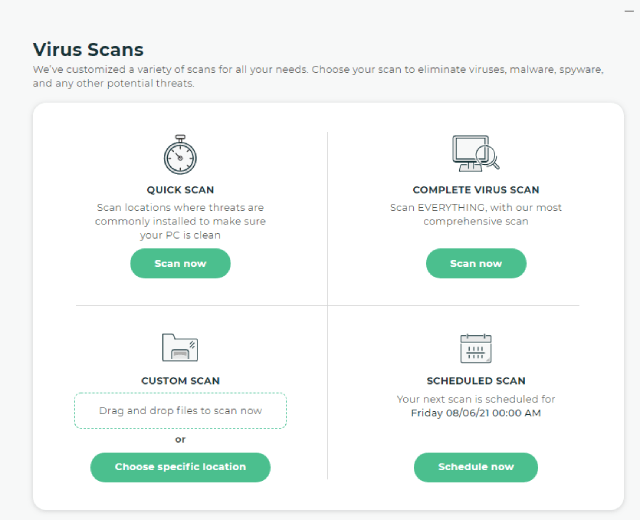 The Scans Tab of Intego