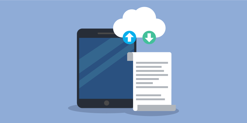 iPad with backup cloud and document