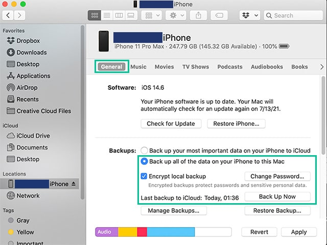 iPhone backup with Finder