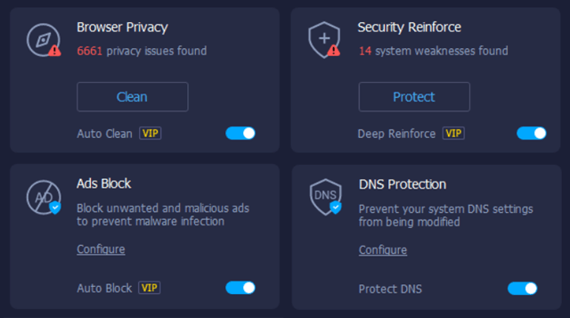Screenshot of iTop's VPN software showing security features