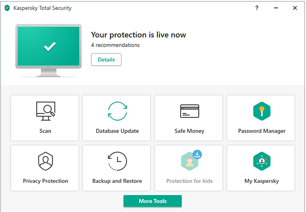 Kaspersky interface screenshot