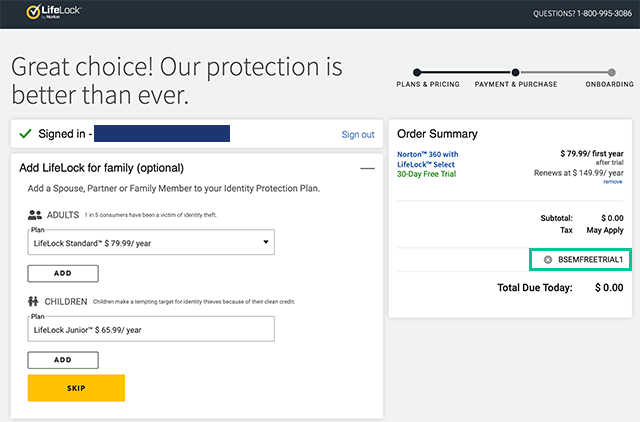 Screenshot of LifeLock signup screen with promo code highlighted