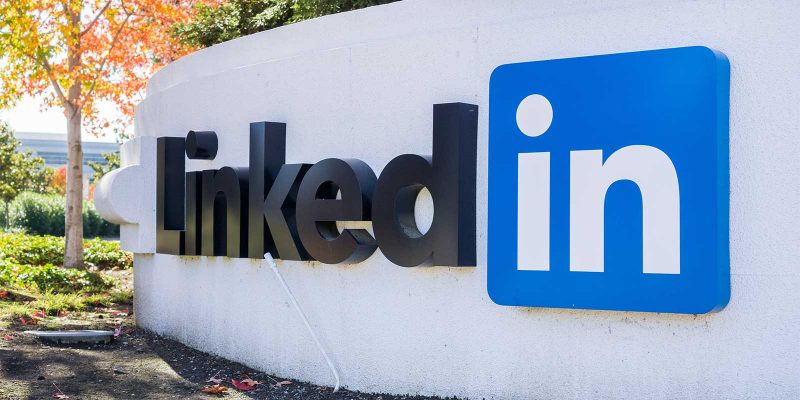 linkedin sign at offices in sillicon valley