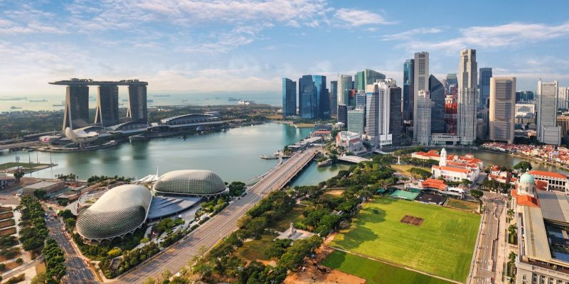 Aerial view of Singapore city at day
