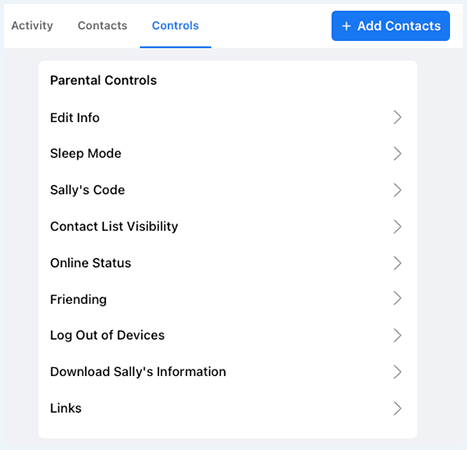 Facebook Messenger Kids: the Control Tab under Settings