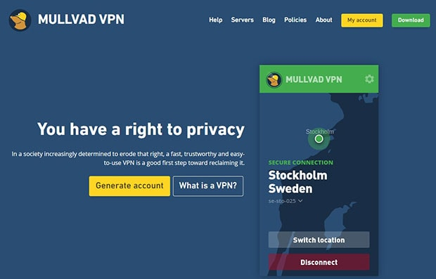 Mullvad VPN website homepage