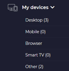 My Devices in cyberghost account