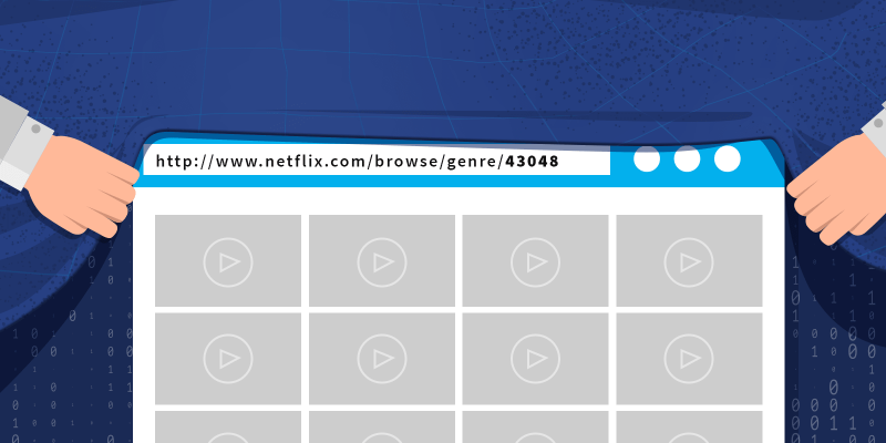 Empty grid on a web browser with play buttons