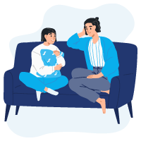 parent talking to kid on couch