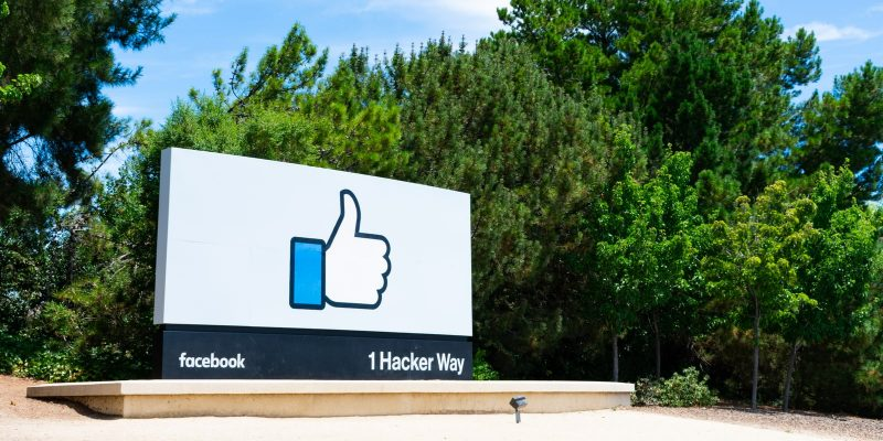 Facebook Like button sign near the famous social media company's headquarters in Silicon Valley
