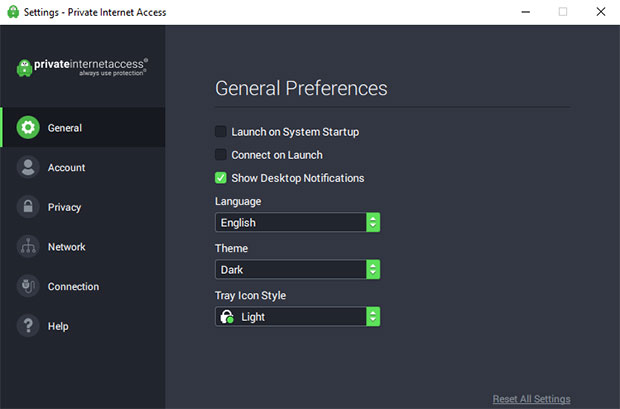 PIA Settings Screen