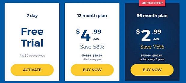 Screenshot prices HMA VPN