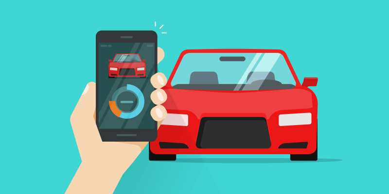 Car and hand holding smartphone