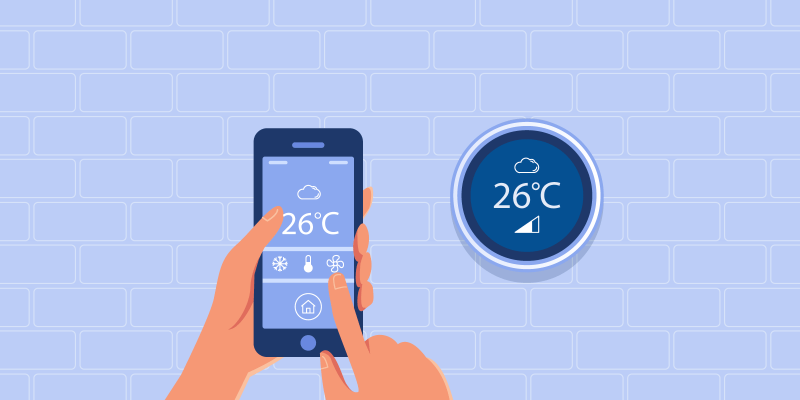 Person using smartphone to change smart thermostat settings