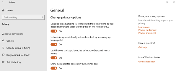 privacy settings windows10