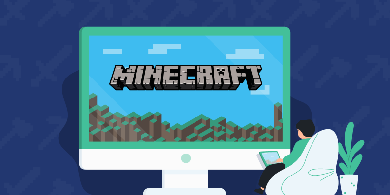 Kid playing Minecraft on a computer with the Minecraft logo being displayed in the game