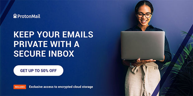 ProtonMail Banner Black Friday Cyber Monday 2020