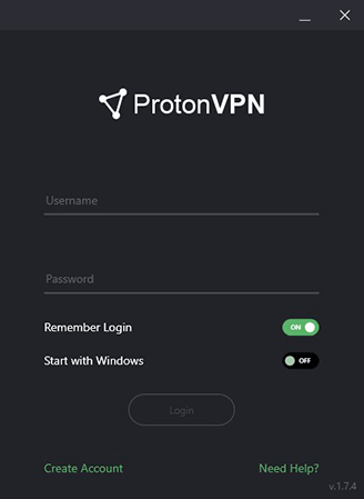 ProtonVPN Dashboard Log In