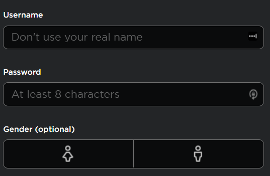 The Roblox Sign-up Form