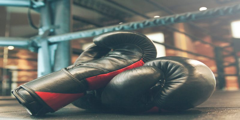 Boxing gloves and ring