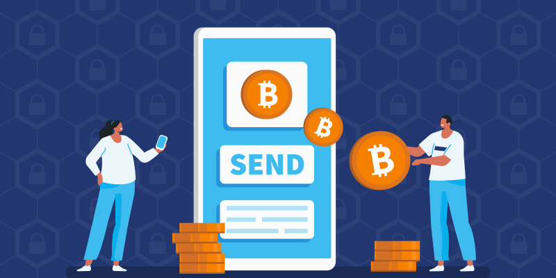 Person sending bitcoin safely through their smartphone to another person