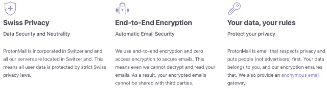 Privacy promises made by ProtonMail
