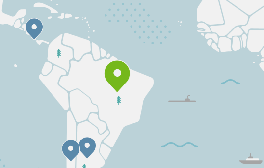 NordVPN map with Brazilian server selected