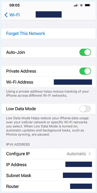 Screenshot of router IP address on iPhone