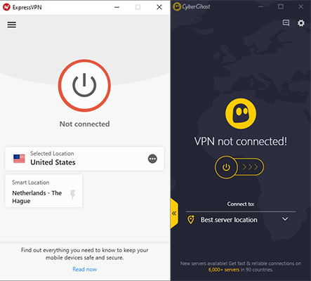 Screenshots ExpressVPN and CyberGhost Software