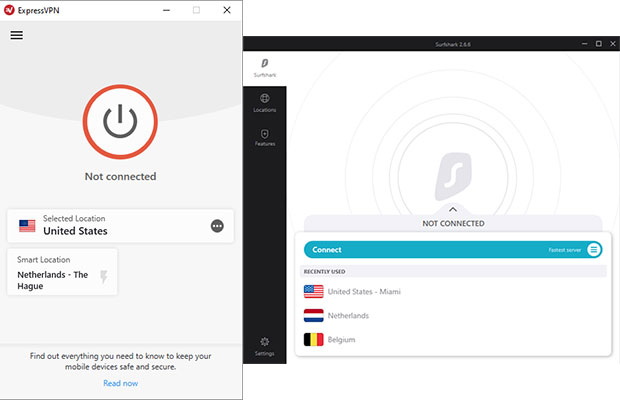 Screenshots ExpressVPN and Surfshark Software