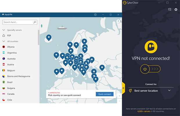 Screenshot del software di NordVPN e CyberGhost