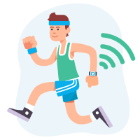 jogger with smartwatch