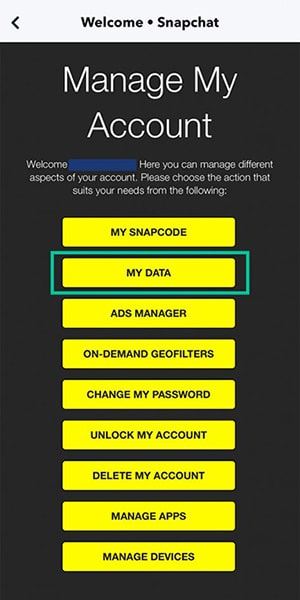 Get your data from Snapchat