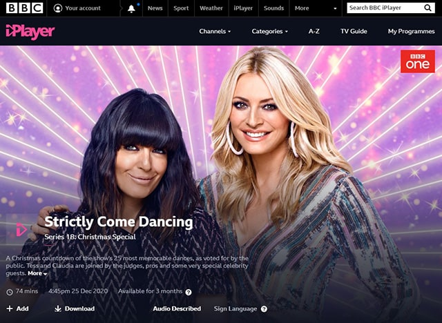 Screenshot of Strictly Come Dancing on the BBC iPlayer website