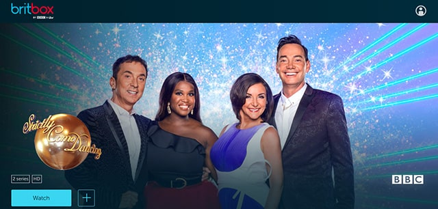 Screenshot of Strictly Come Dancing on the BritBox website