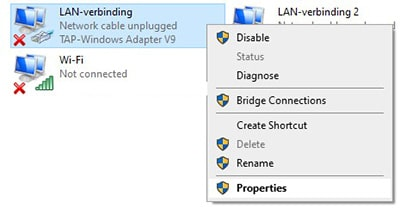 TAP Windows Adapter Properties