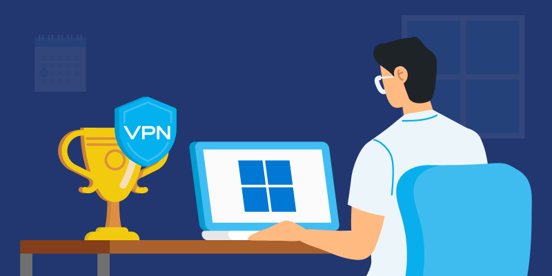Person using Windows 11 on a laptop with a Trophy with a VPN icon on the desk next to it