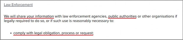 TikTok Privacy Policy Law Enforcement Requests