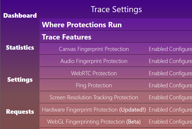 Trace extension settings