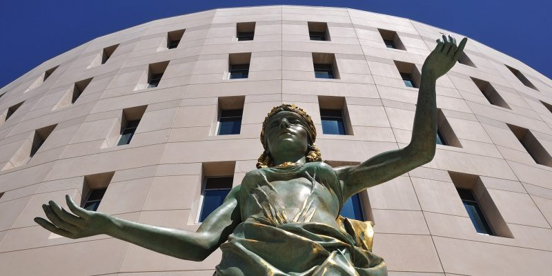 Blind Justice in front of Courthouse in Hillsborough County, Florida