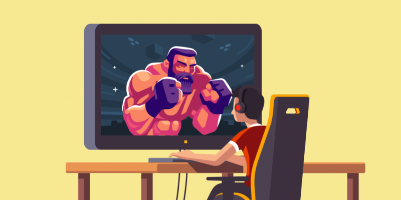 Boy watches UFC fighter on screen
