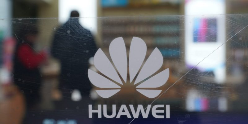 Huawei logo on cracked glass