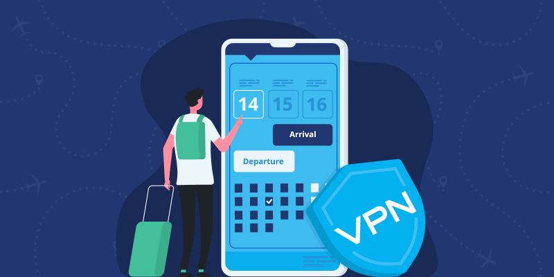 Person booking a flight on a smartphone with a VPN shield leaning against it
