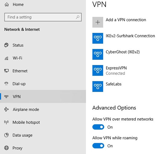 VPN connection in Windows Settings