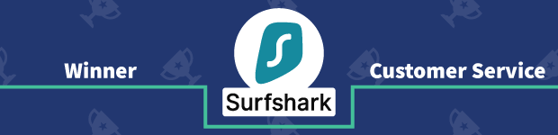 VPN Provider vs Provider Winner Customer Service Banner Surfshark