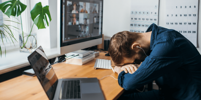 Guy exhausted from videocalls