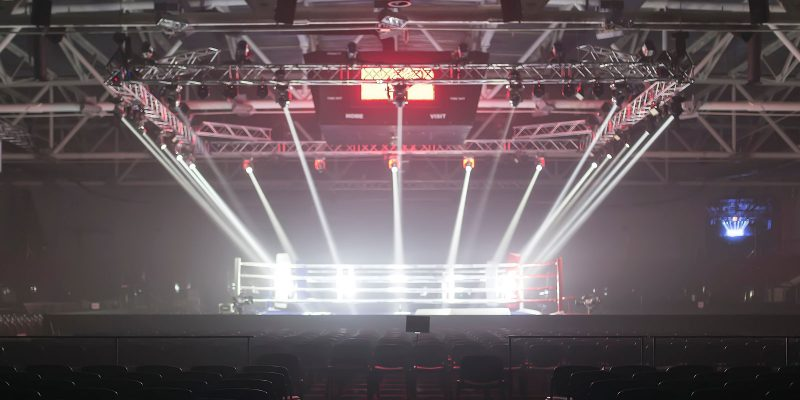 Boxing ring in empty arena
